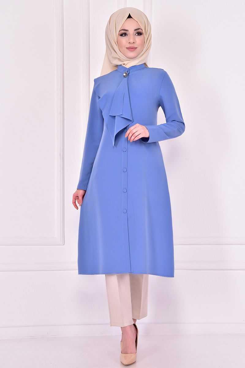 Modamerve Broşlu Tesettür Bebe Mavisi Tunik Modelleri