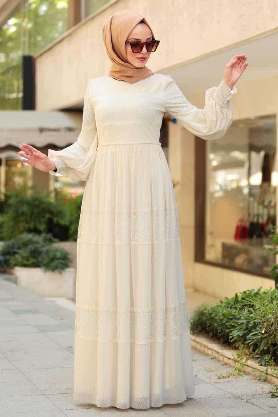 Nayla Collection Tesettür Ekru Elbise Modası