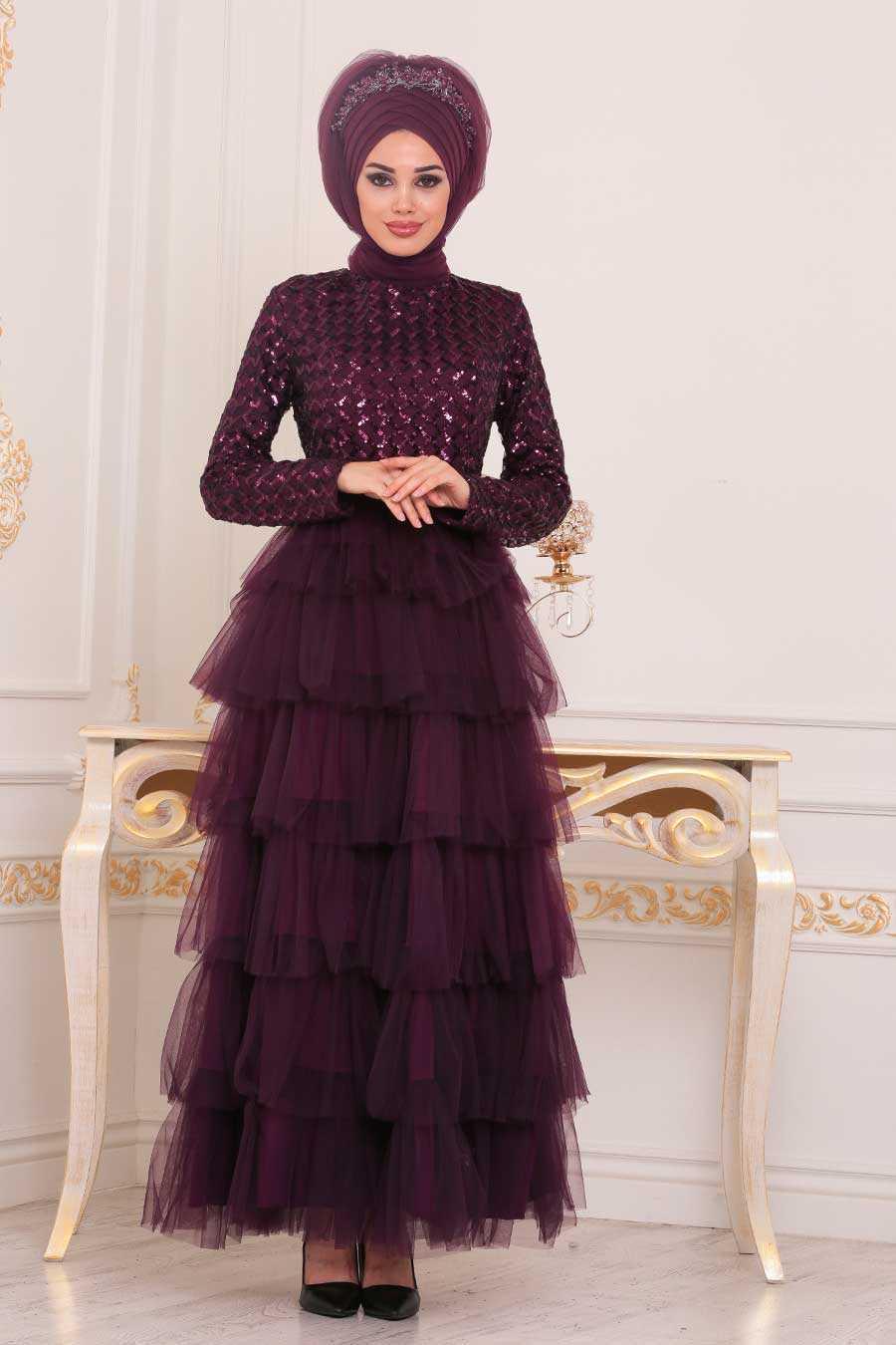 Neva Style Fırfırlı Tesettür Abiye Elbise Modelleri