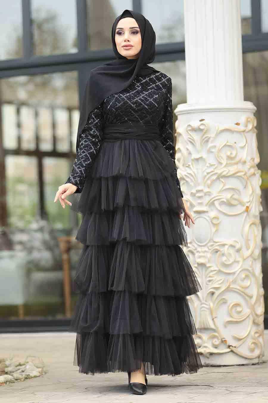 Neva Style Tül Fırfırlı Tesettür Abiye Elbise Modelleri