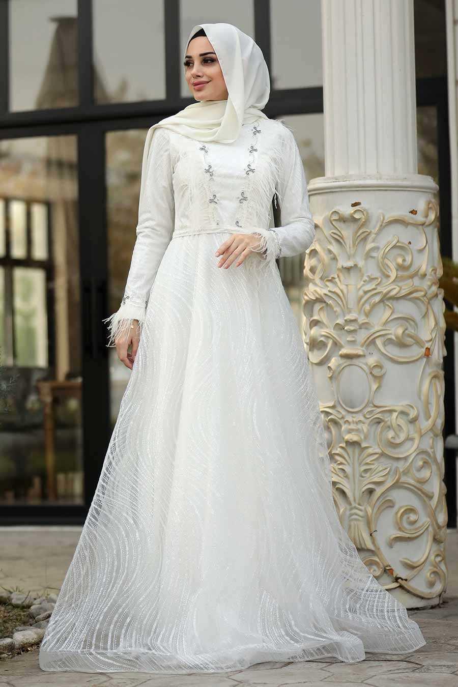 Neva Style Tesettür Ekru Abiye Elbise Modelleri