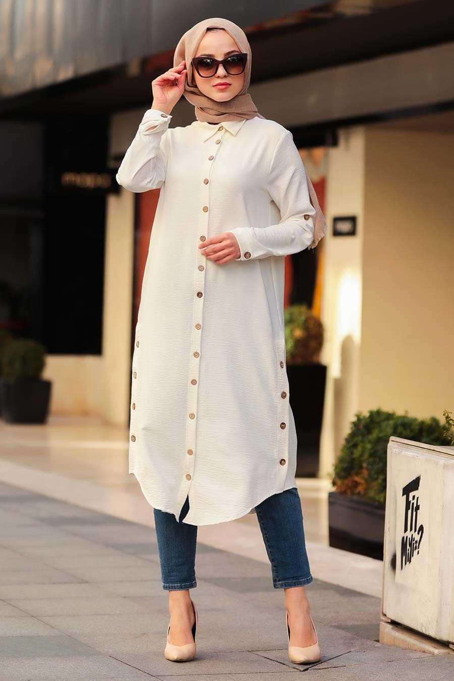 Neva Style Tesettür Ekru Düğmeli Tunik Modelleri
