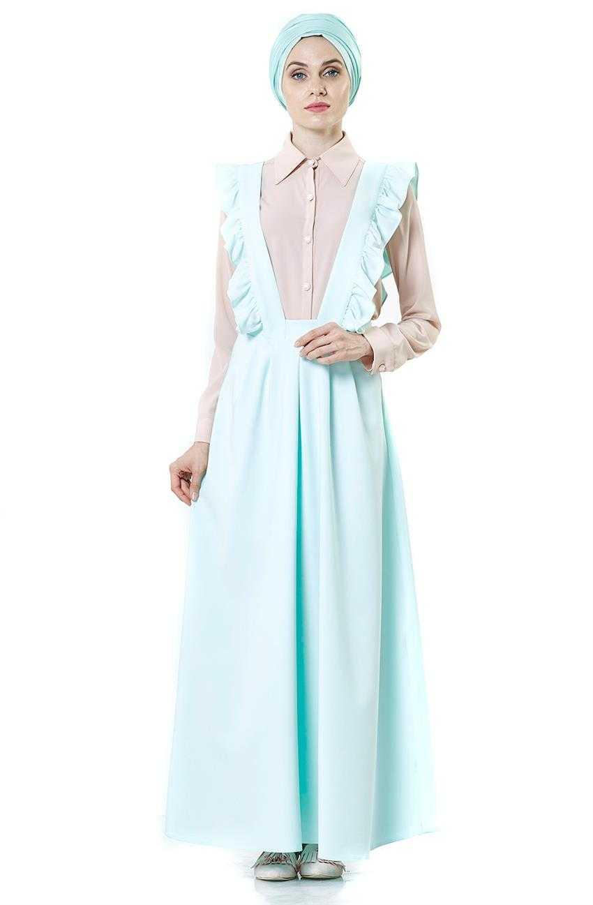 Nursima Tesettür Fırfır Detaylı Askılı Jile Elbise Modelleri