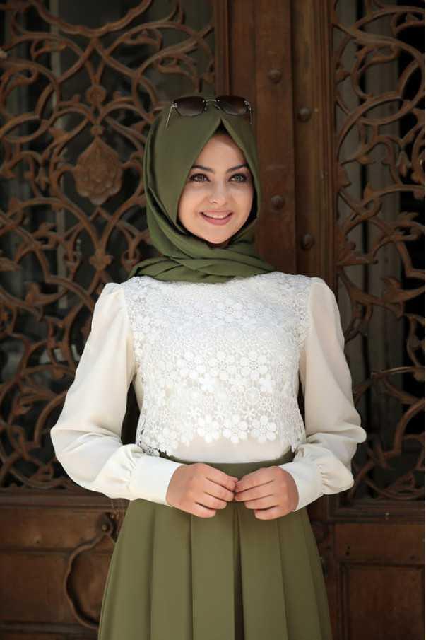 Pınar Şems Dantelli Tesettür Gömlek Modelleri