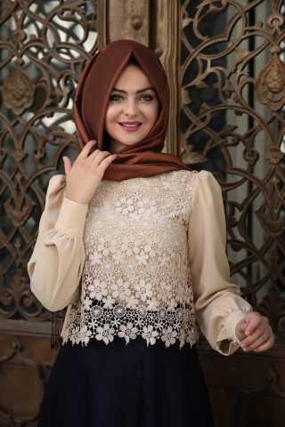 Pınar Şems Tesettür Dantelli Gömlek Modelleri