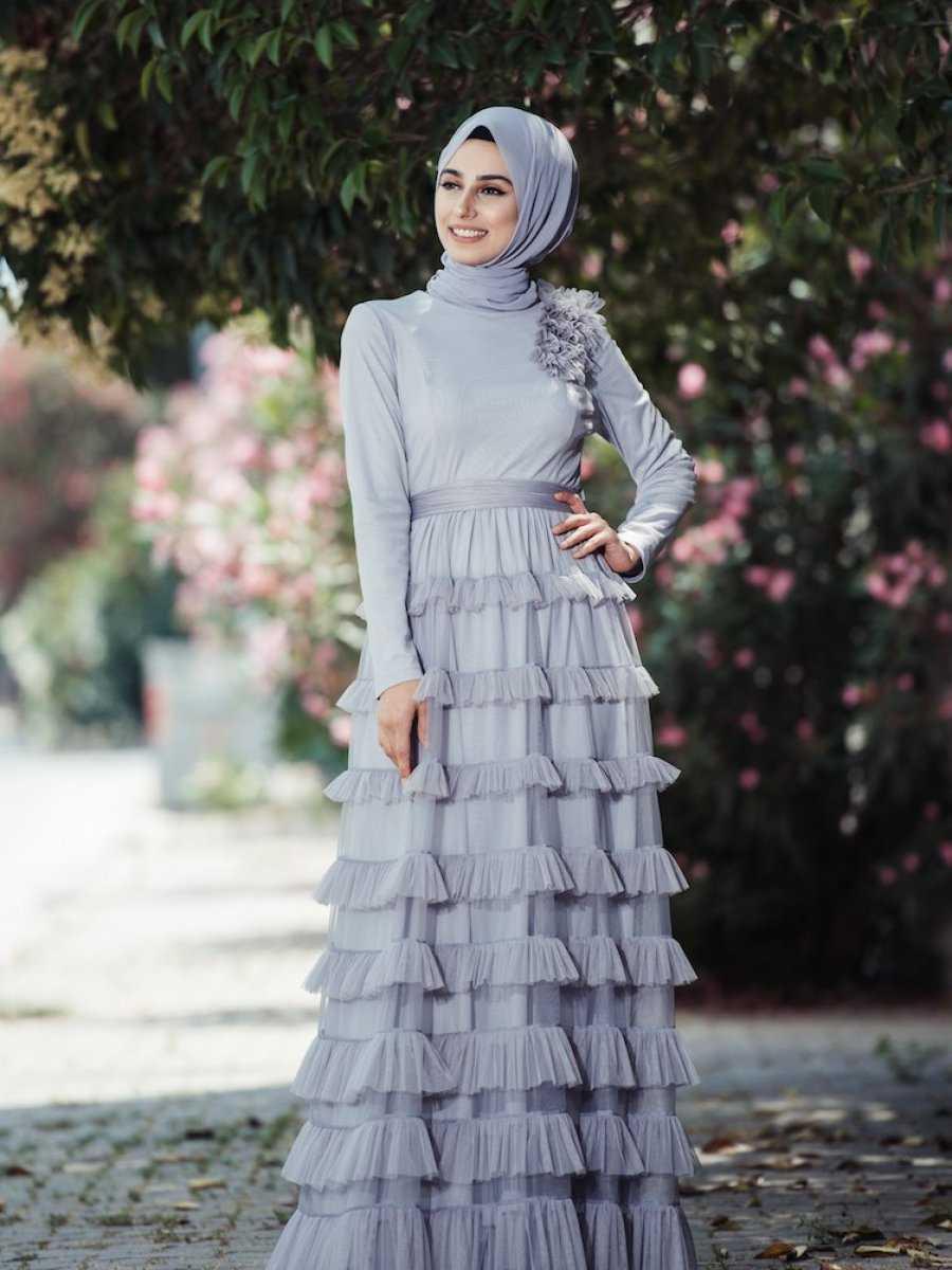 Sefamerve Fırfırlı Tesettür Abiye Elbise Modelleri