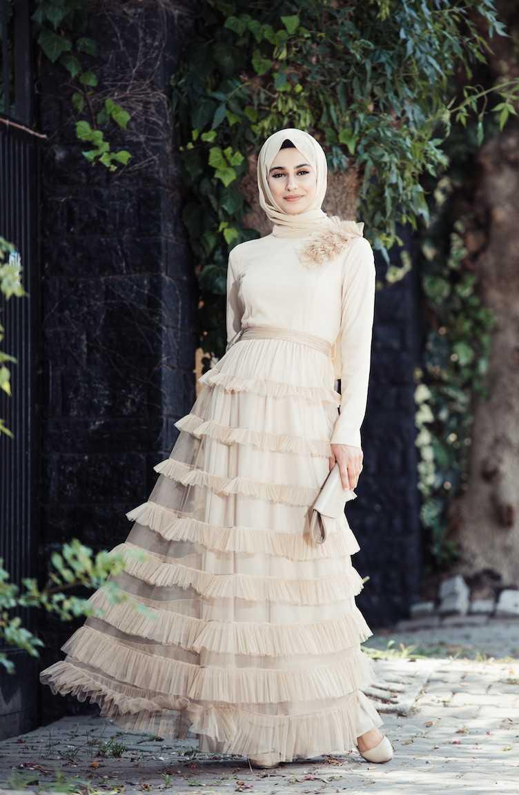 Sefamerve Tül Fırfırlı Tesettür Abiye Elbise Modelleri