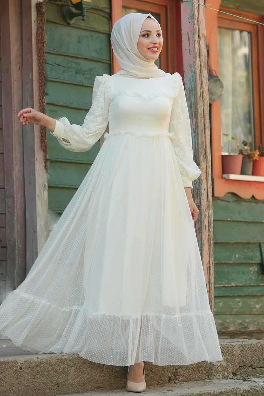 Tesettürlü Abiye Elbiseler Ekru Abiye Elbise Modelleri