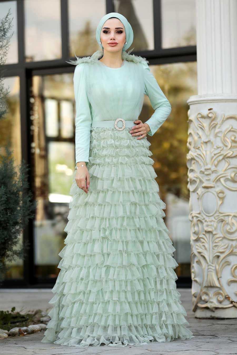Tesettürlü Abiye Elbiseler Fırfırlı Abiye Elbise Modelleri