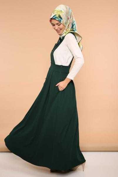 Yağmur Butik Tesettür Askılı Yeşil Jile Elbise Modelleri