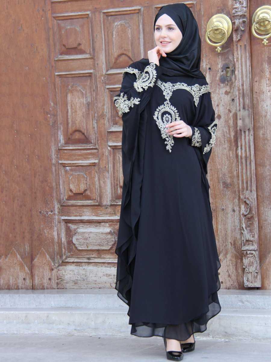 İz Otantik Tesettür Siyah Abaya Ferace Modelleri