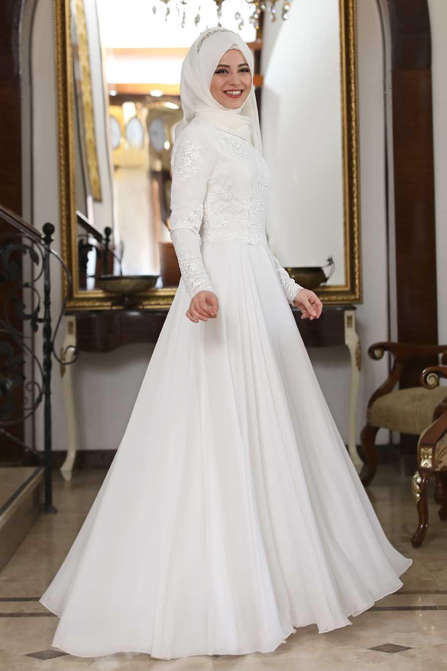 Al Marah Tesettür Beyaz Abiye Elbise Modelleri