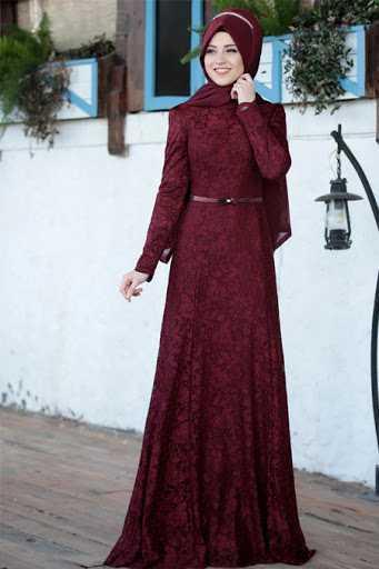 Al Marah Tesettür Bordo Abiye Elbise Modelleri