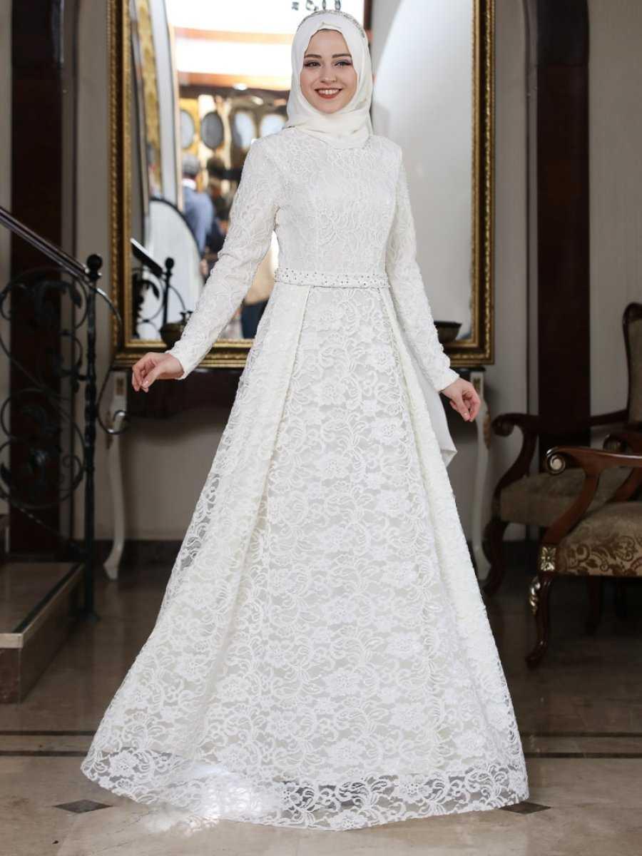 Al Marah Tesettür Eliz Ekru Abiye Elbise Modelleri