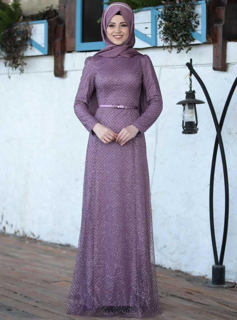 Al Marah Tesettür Gül Kurusu İnci Abiye Elbise Modelleri
