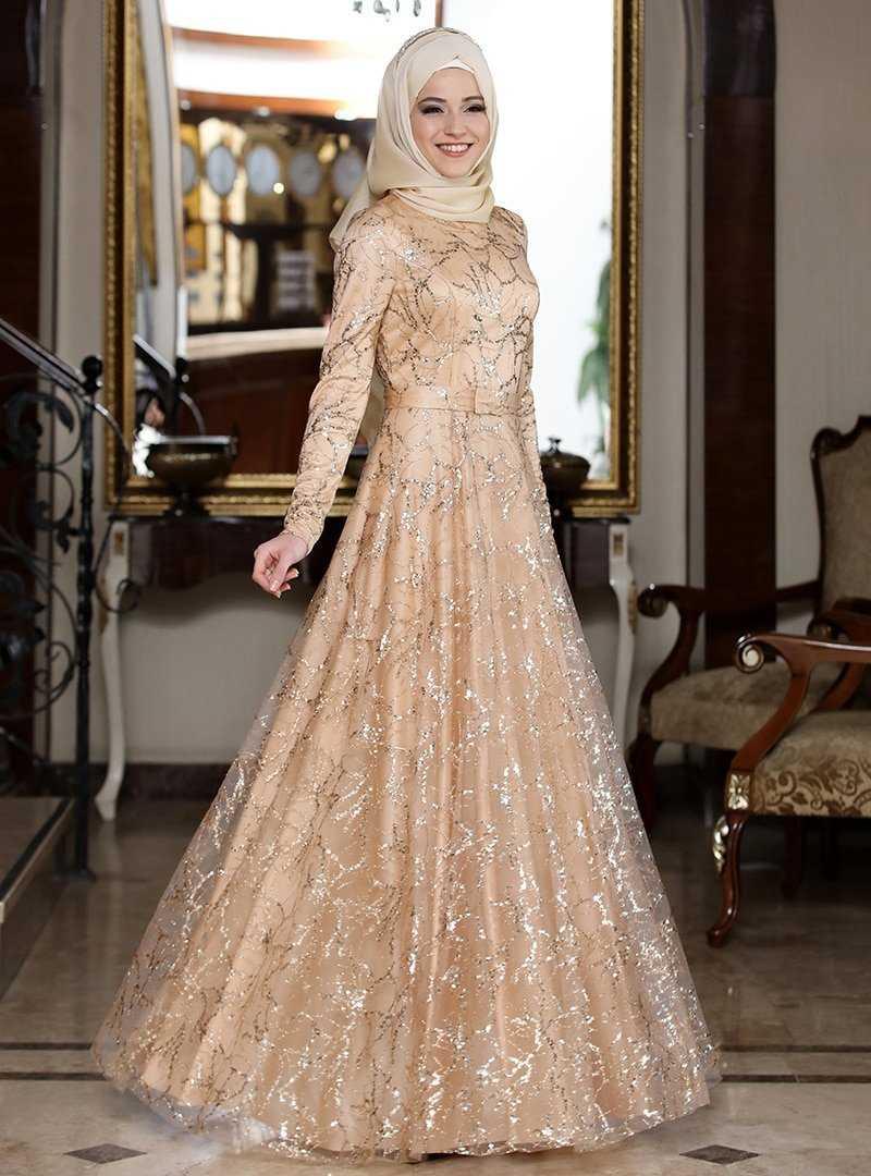 Al Marah Tesettür Gold Abiye Elbise Modelleri