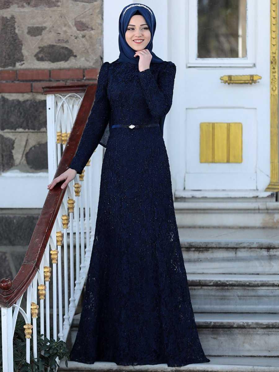 Al Marah Tesettür Lacivert Abiye Elbise Modelleri