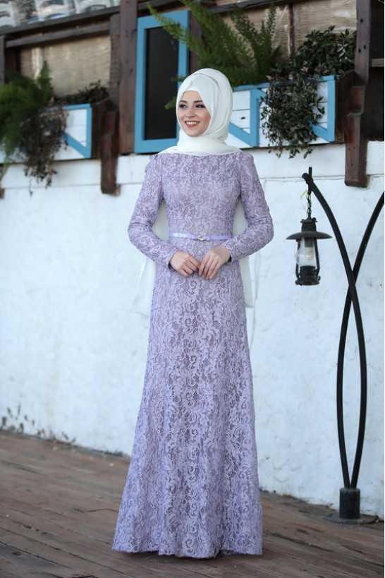 Al Marah Tesettür Lila Abiye Elbise Modelleri