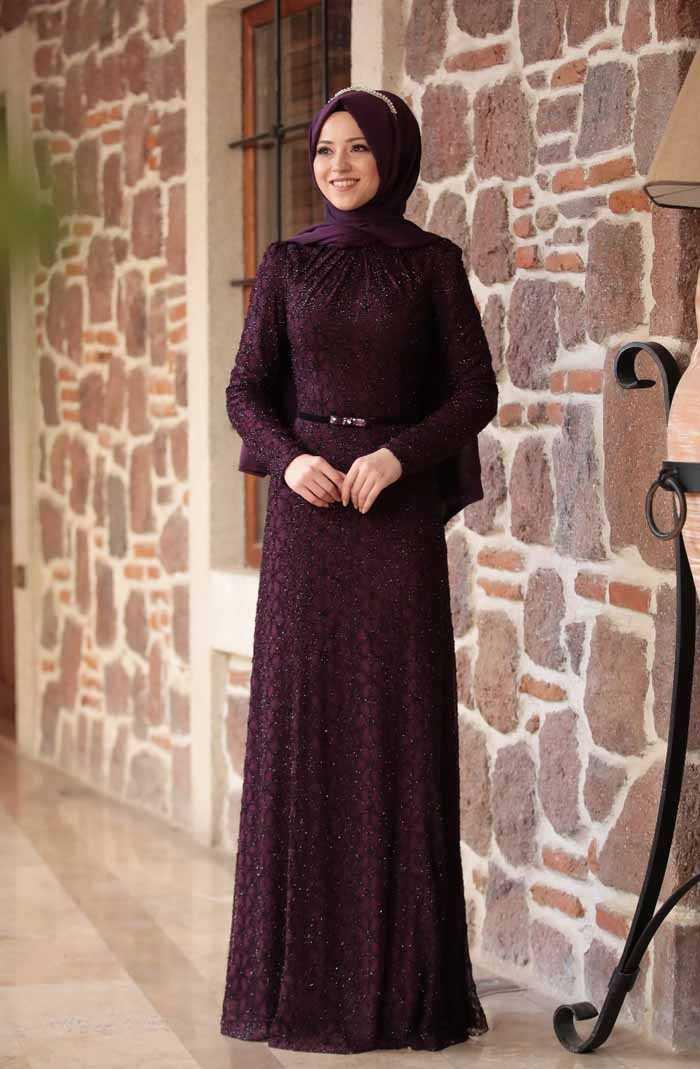 Al Marah Tesettür Mürdüm Abiye Elbise Modelleri