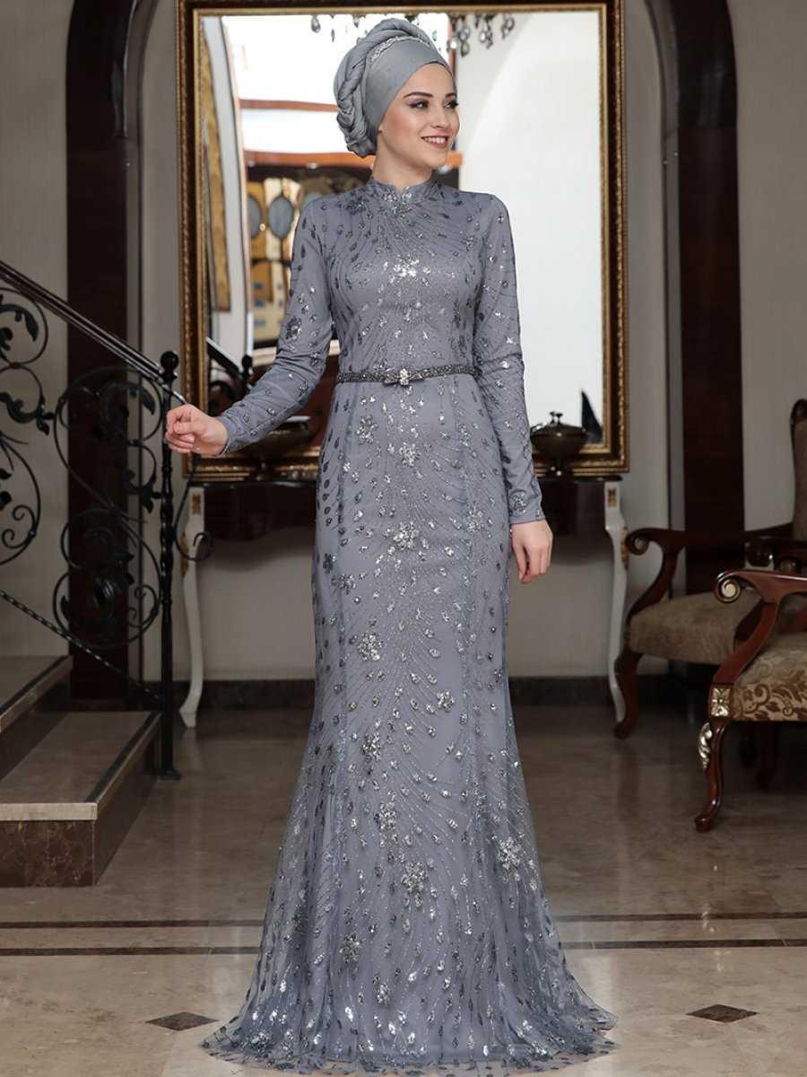 Al Marah Tesettür Pırıl Antrasit Abiye Elbise Modelleri