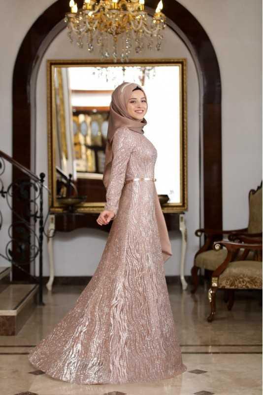 Al Marah Tesettür Selin Gold Abiye Elbise Modelleri