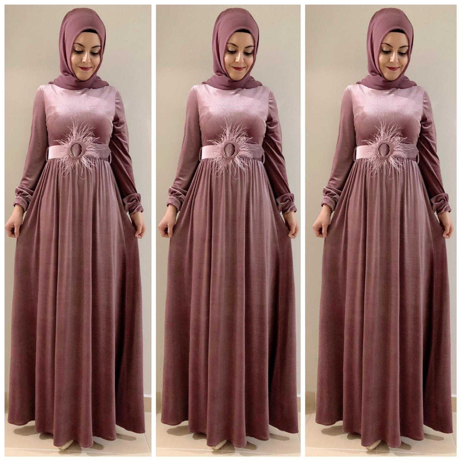 Elfida Tesettür Kadife Abiye Elbise Modelleri