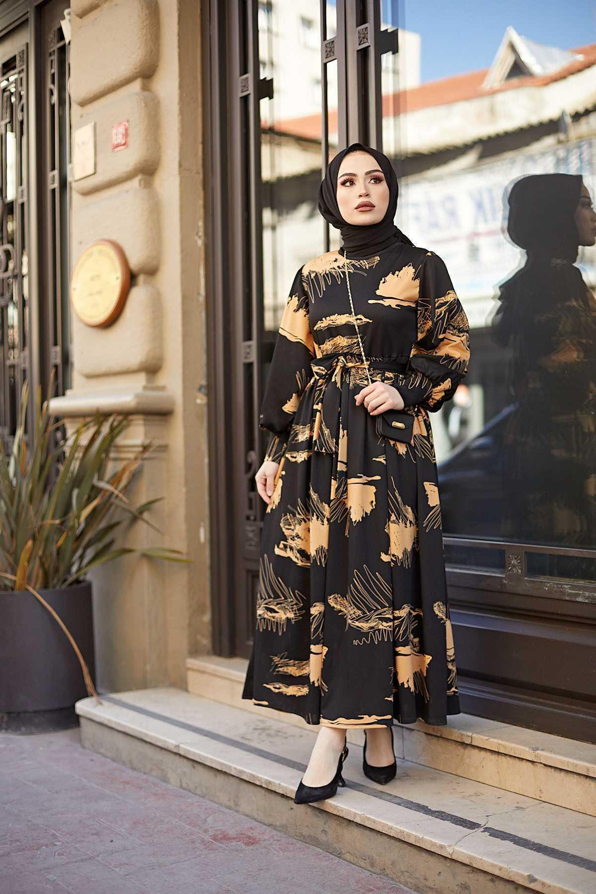 Eliza Moda Dijital Baskılı Tesettür Elbise Modelleri