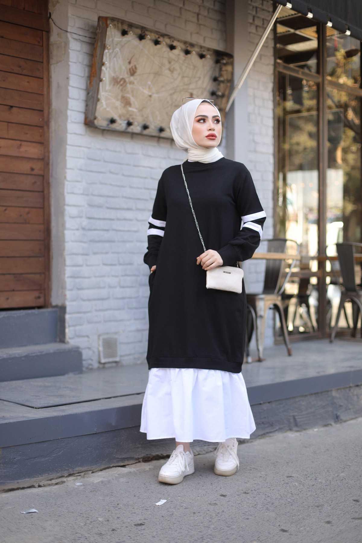 Eliza Moda Tesettür Şerit Detaylı Elbise Modelleri