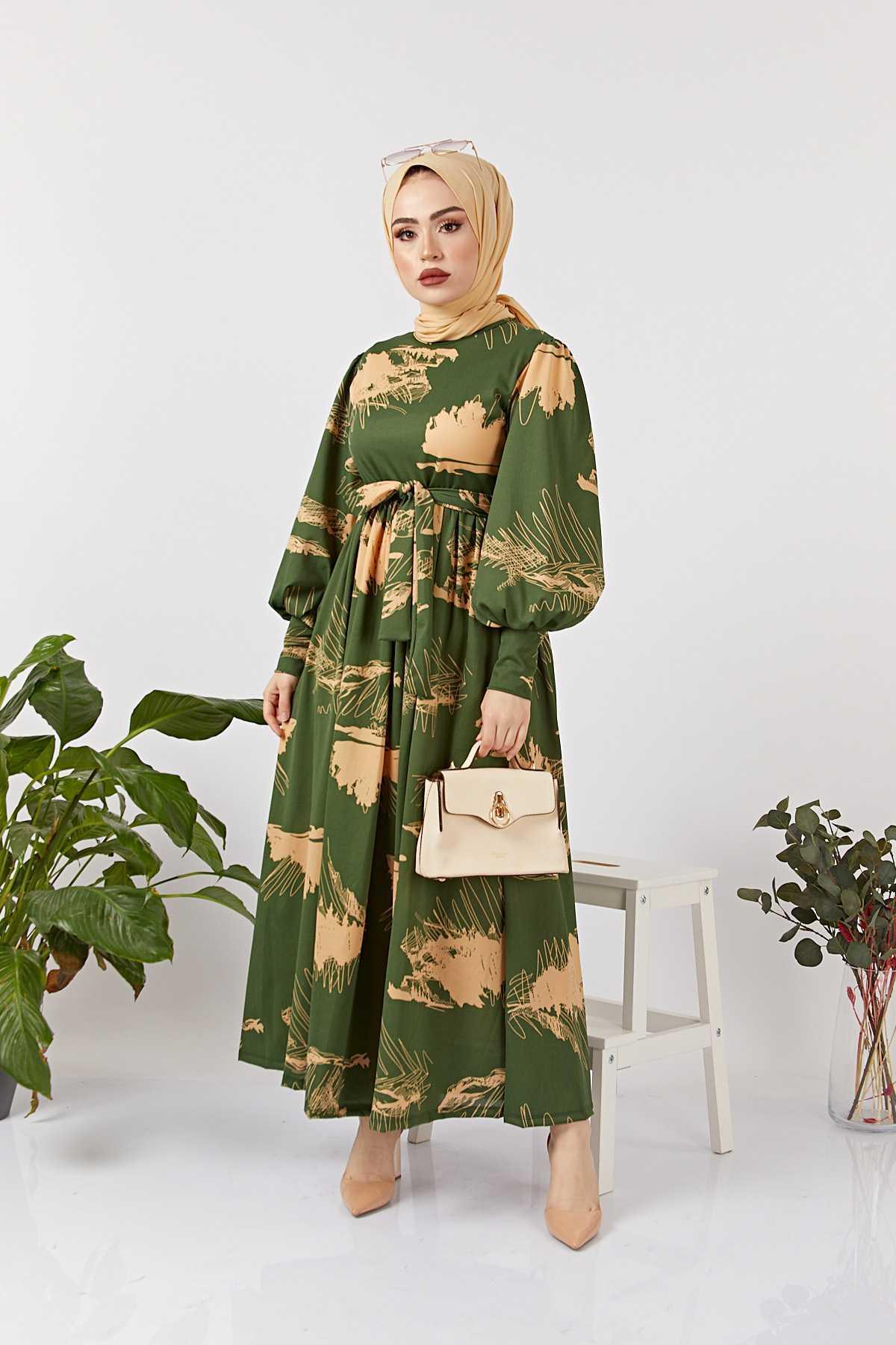 Eliza Moda Tesettür Desenli Elbise Modelleri