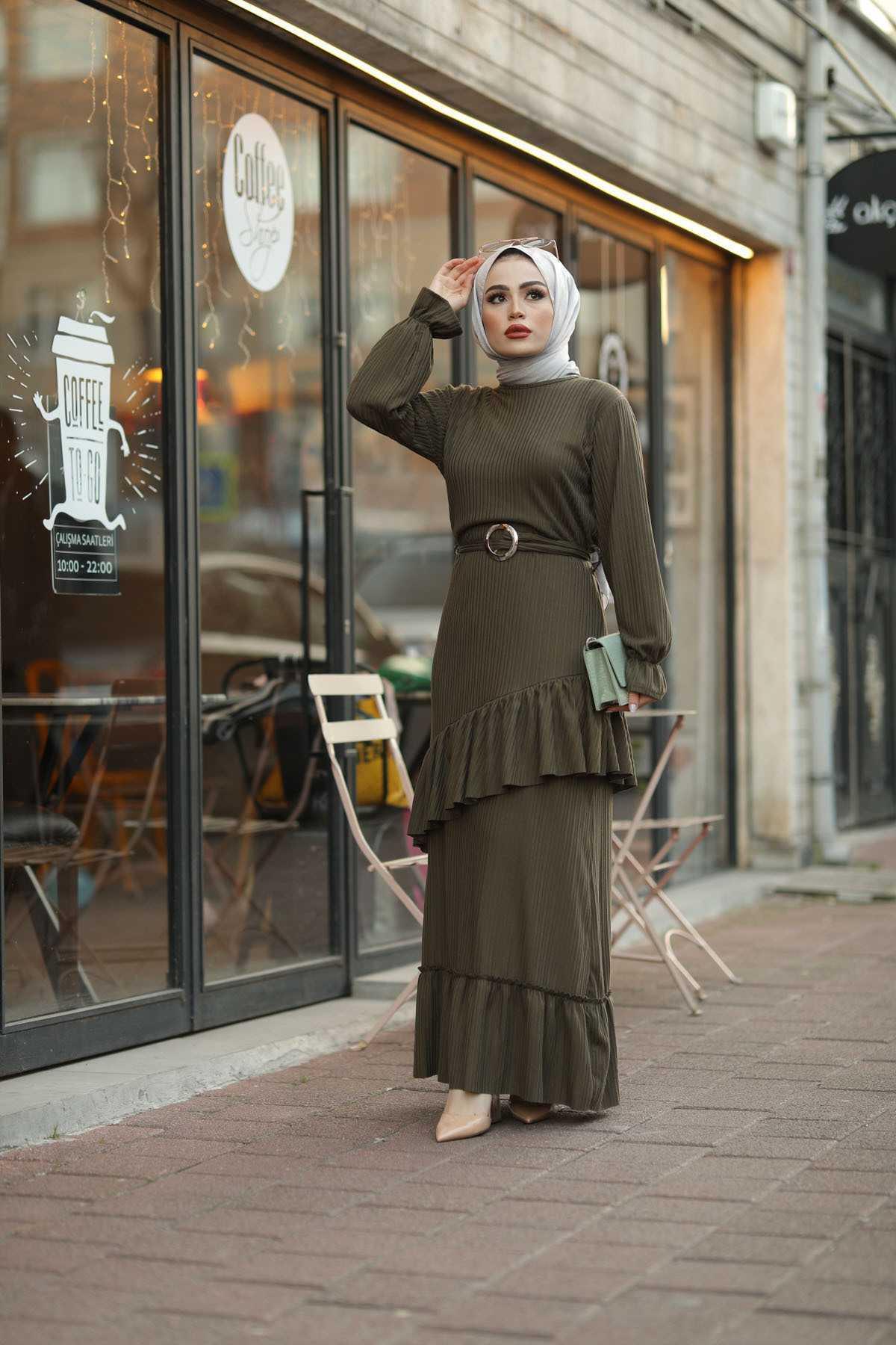 Eliza Moda Tesettür Fırfırlı Elbise Modelleri