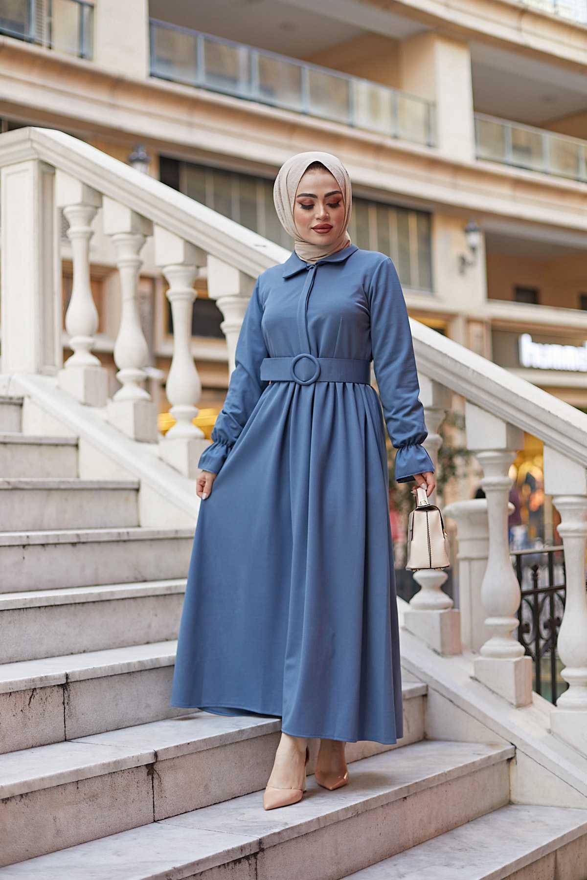 Eliza Moda Tesettür Kemerli Elbise Modelleri