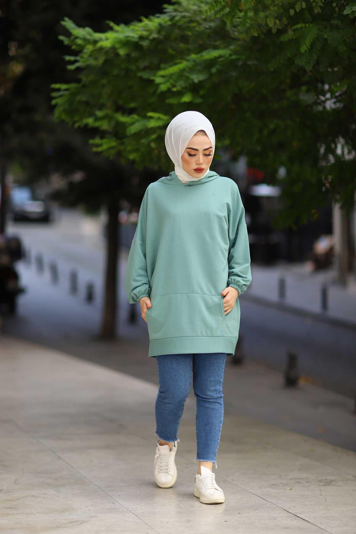 Eliza Moda Tesettür Mint Yeşili Sweat Modası
