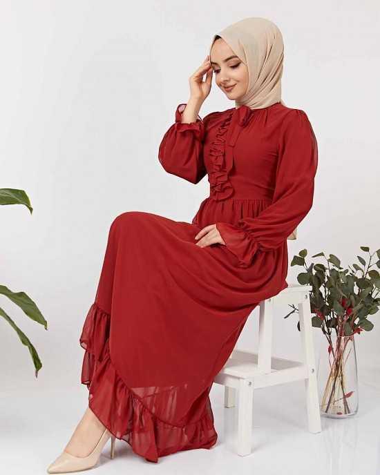 Elizamoda Tesettür Büzgülü Abiye Elbise Modelleri