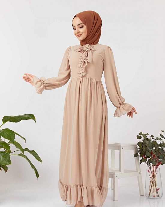 Elizamoda Tesettür Beli Büzgülü Abiye Elbise Modelleri