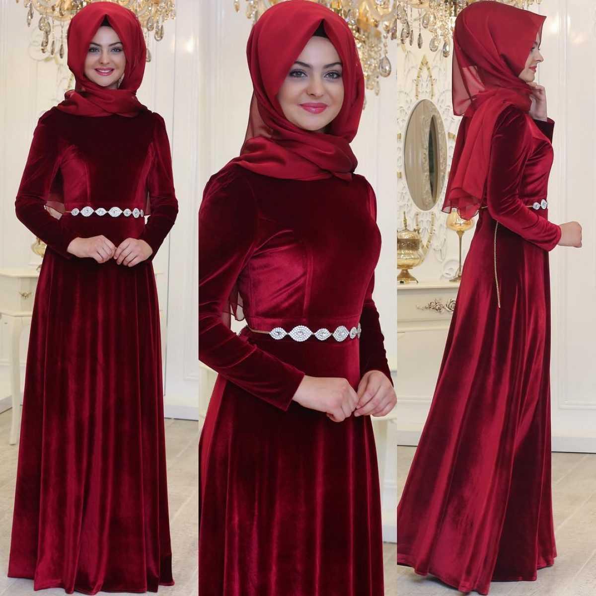 En Güzel Pınar Şems Tesettür Kadife Abiye Elbise Modelleri