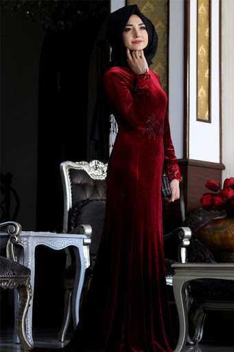 Gamze Özkul Tesettür Kadife Abiye Elbise Modelleri