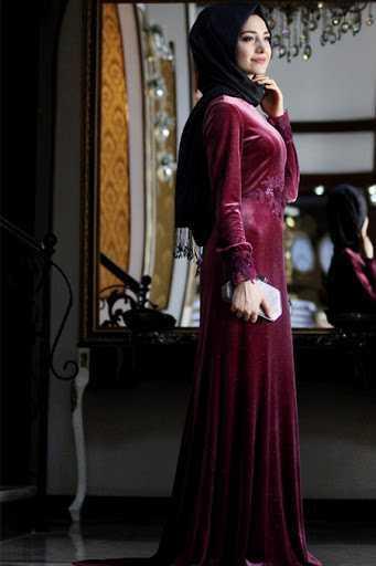 Gamze Özkul Tesettür Kuğu Kadife Abiye Elbise Modelleri