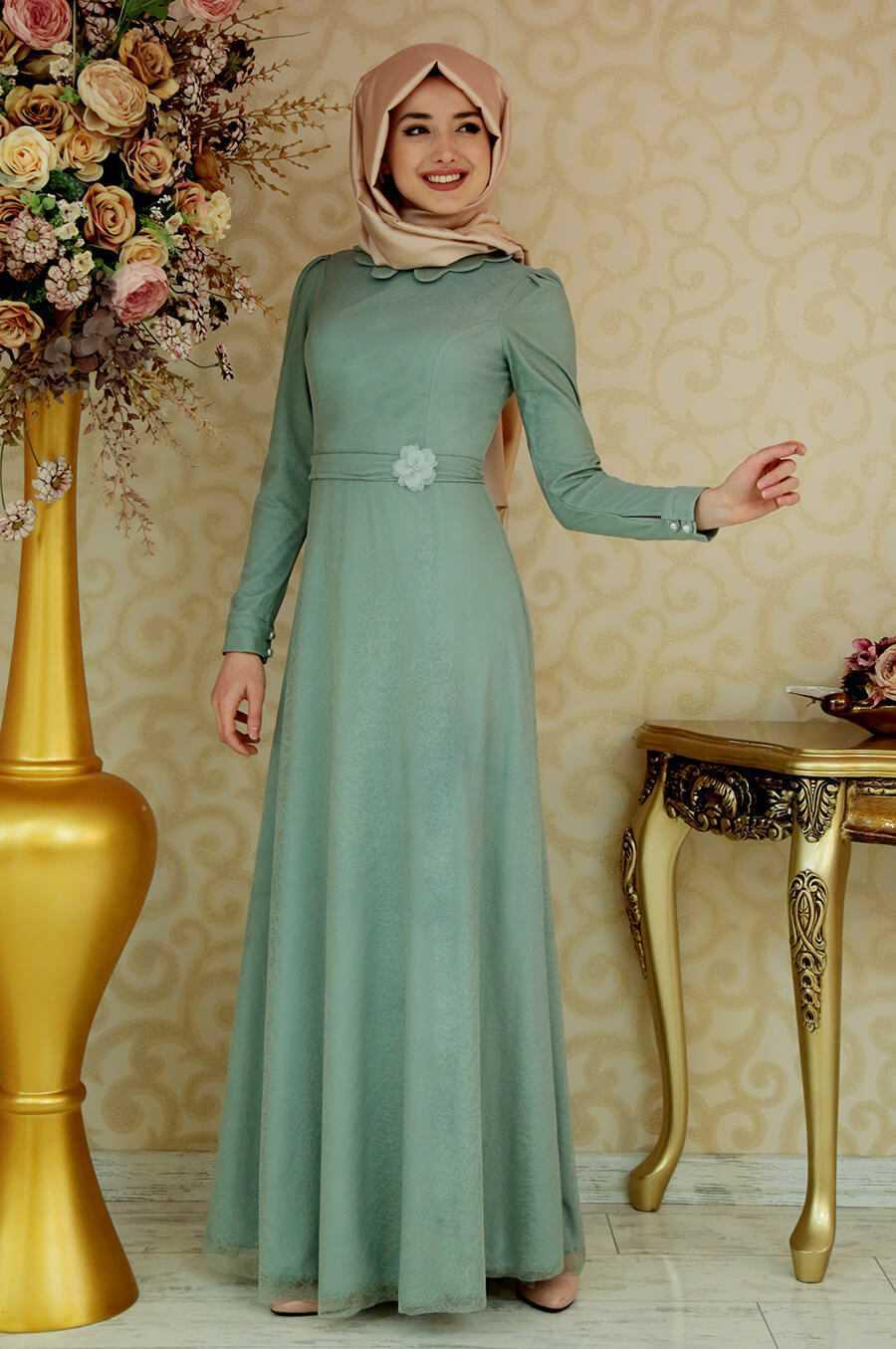Gamze Özkul Tesettür Mint Elbise Modelleri