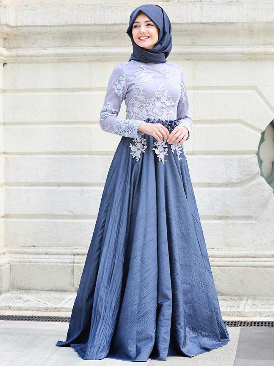 Gamze Özkul Tesettür Tafta Abiye Elbise Modelleri