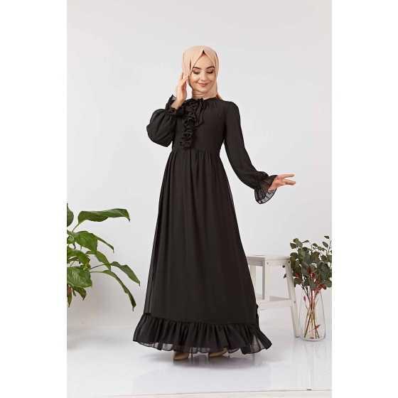 Hf Moda Tesettür Büzgülü Abiye Elbise Modelleri