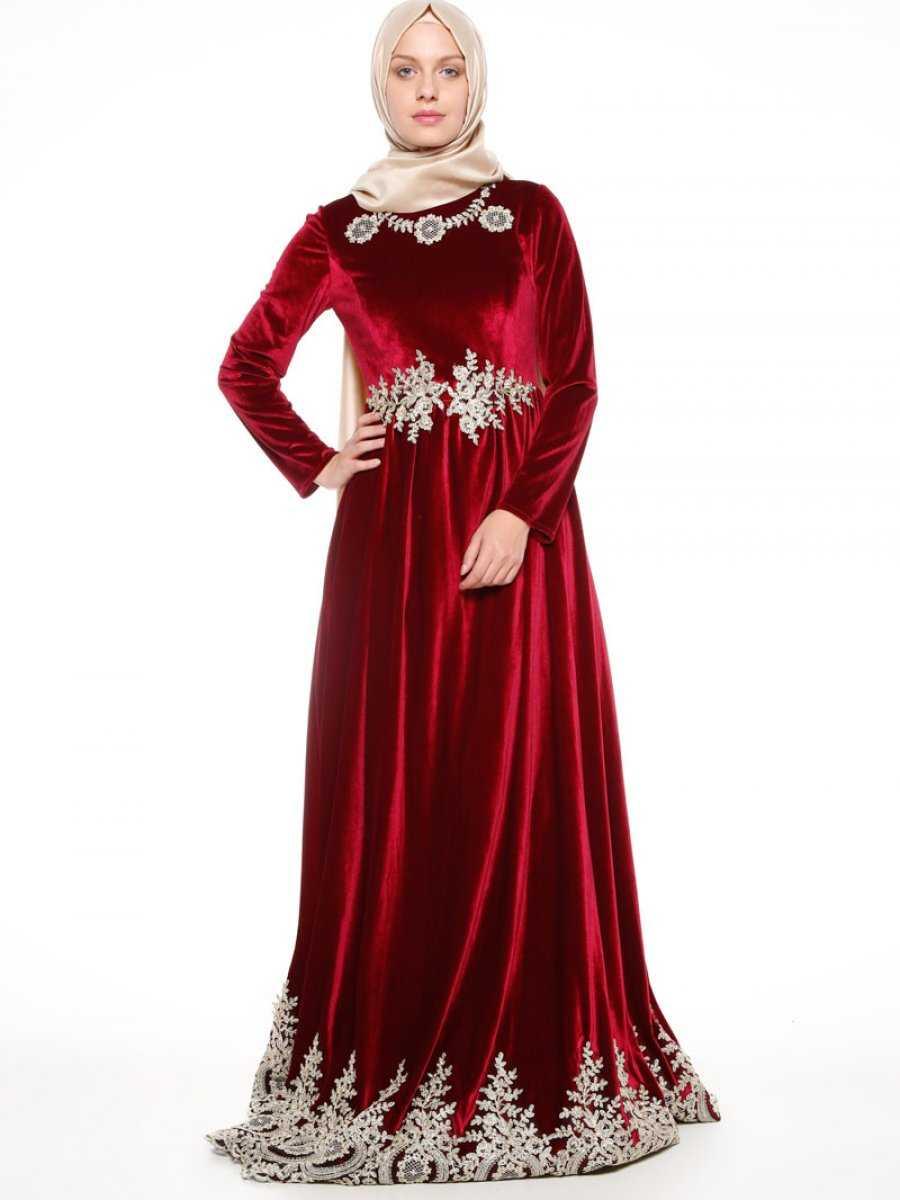 Mislina Tesettür Kadife Abiye Elbise Modelleri