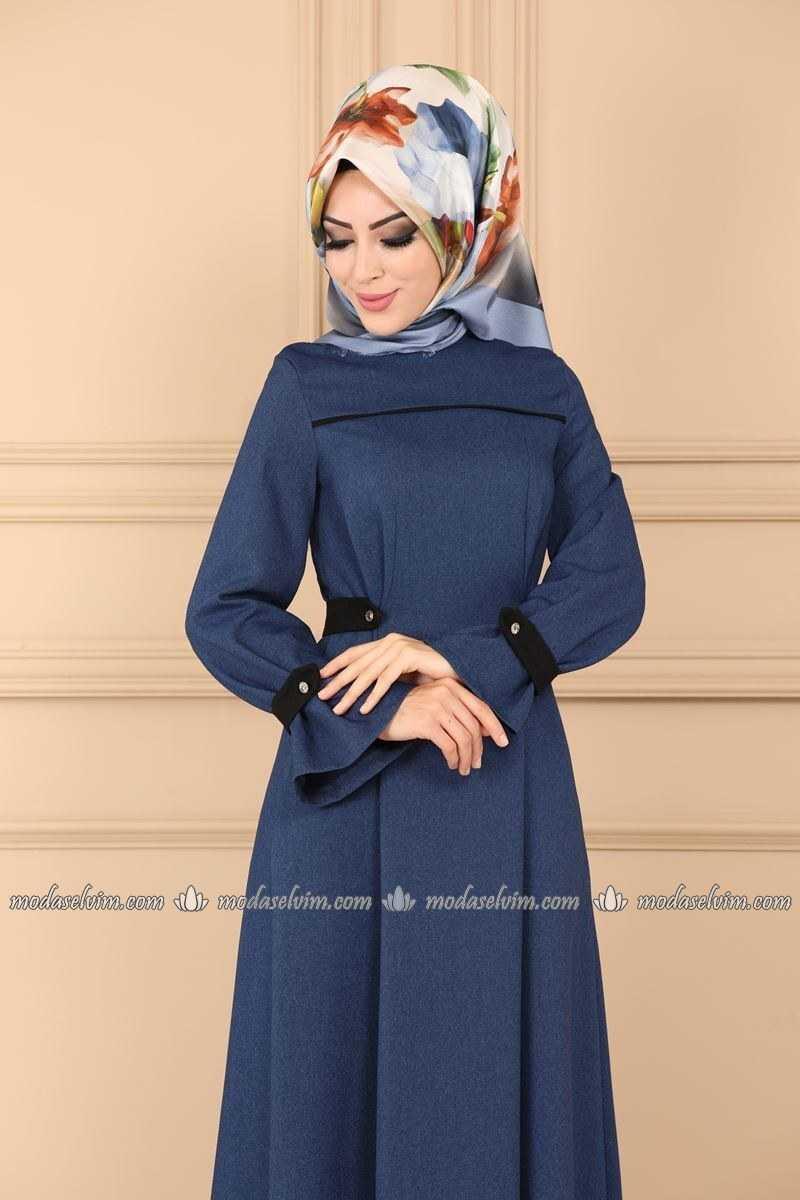 Moda Selvim Tesettür Apolet Detaylı Elbise Modelleri