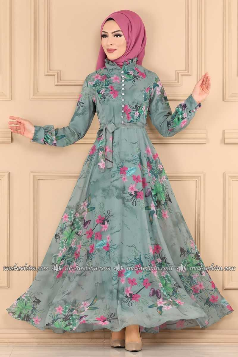 Moda Selvim Tesettür Mint Desenli Elbise Modelleri