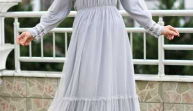 Tesettür Büzgülü Abiye Elbise Modelleri
