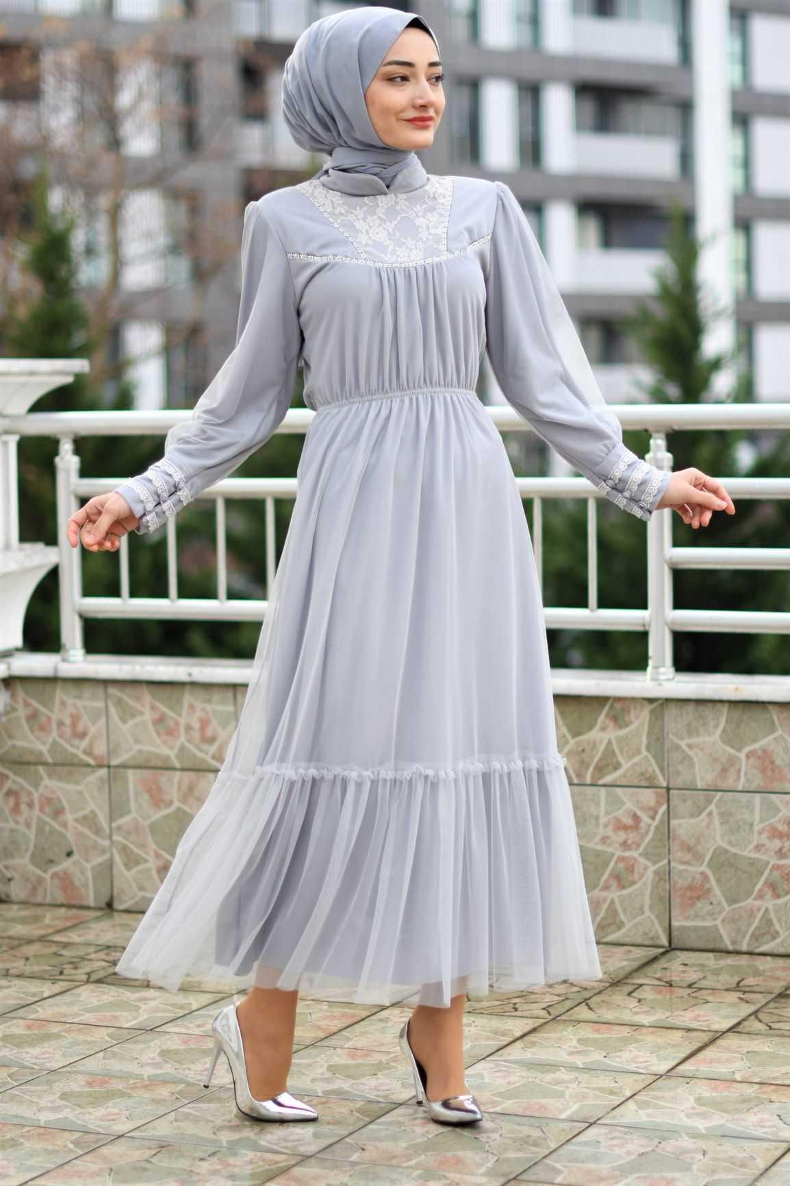 Modam Afra Tesettür Büzgülü Şık Abiye Elbise Modelleri