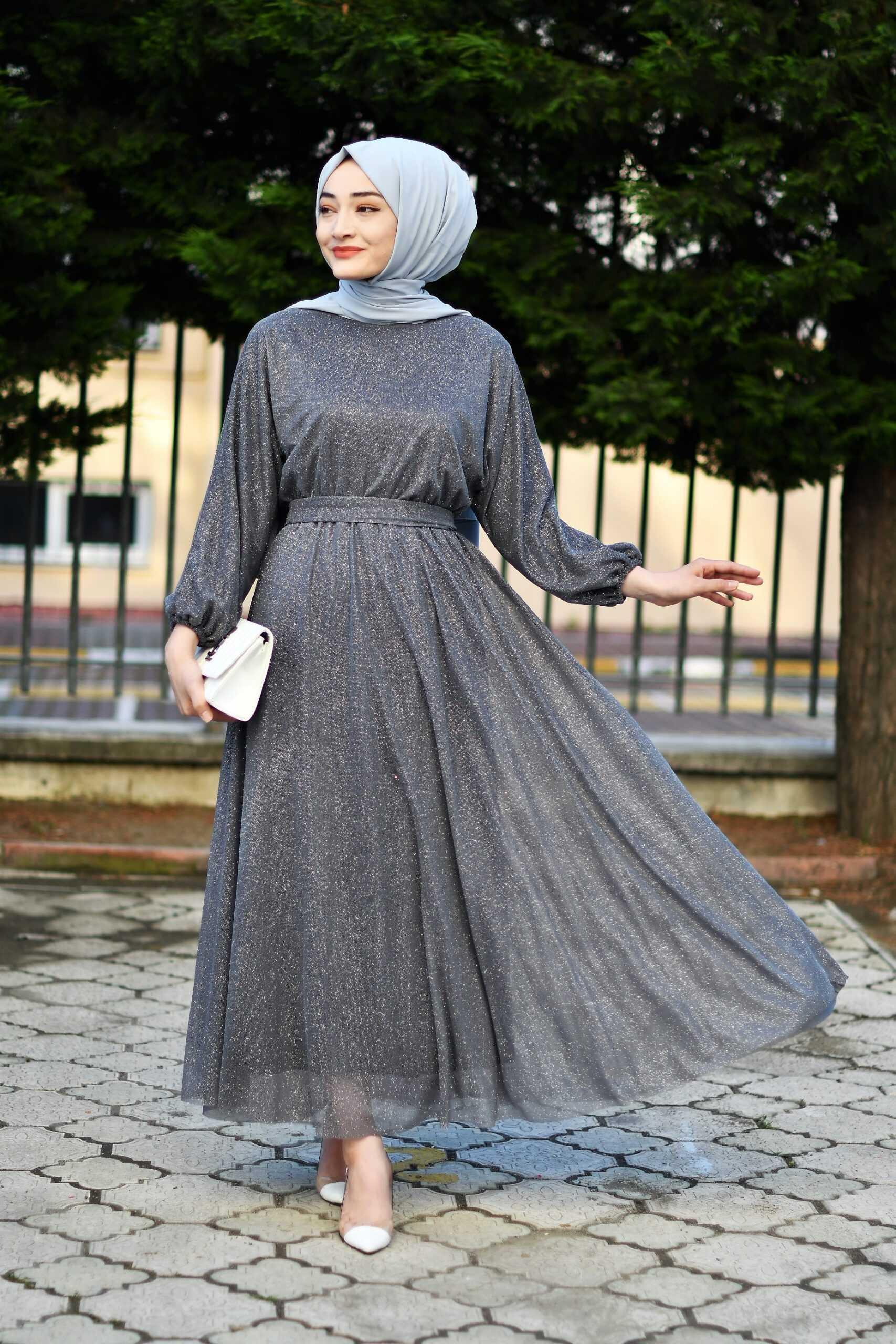 Modam Afra Tesettür Büzgülü Abiye Elbise Modelleri