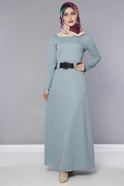 Modasima Tesettür Mint Elbise Modası