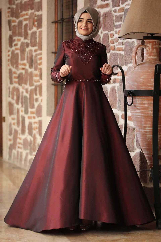 Modavina Tesettür Tafta Abiye Elbise Modelleri