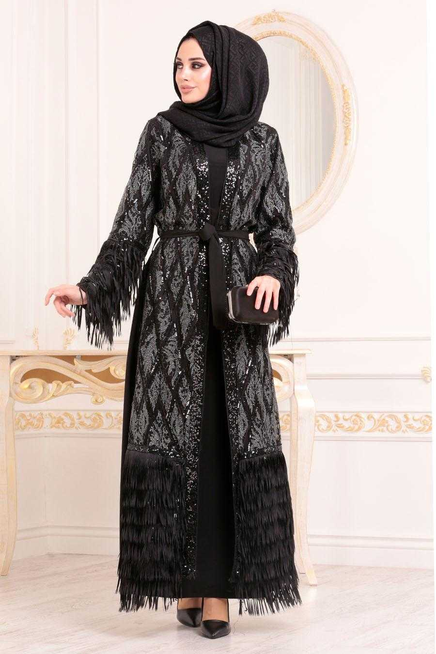 Nayla Collection Tesettür Simli Abaya Modelleri