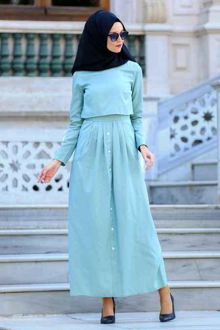 Neva Style Tesettür Mint Elbise Modelleri